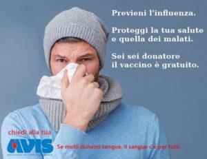 Contro l'influenza, il vaccino è gratuito per i Donatori di Sangue!